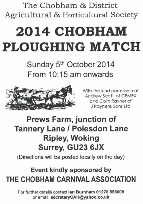 Chobham Ploughing Match 5th October - NEW VENUE